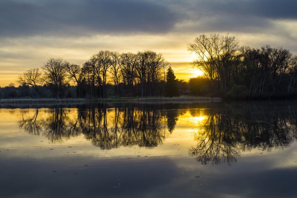 A sunrise on a lake.