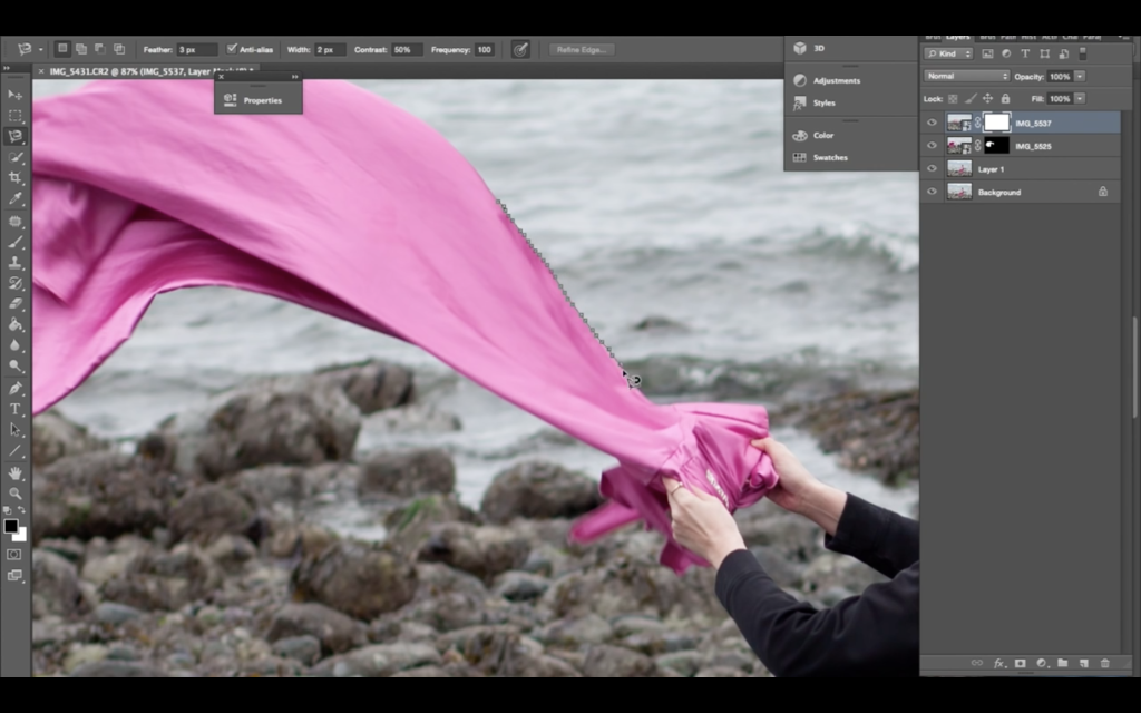 Using the magnetic lasso tool in Photoshop