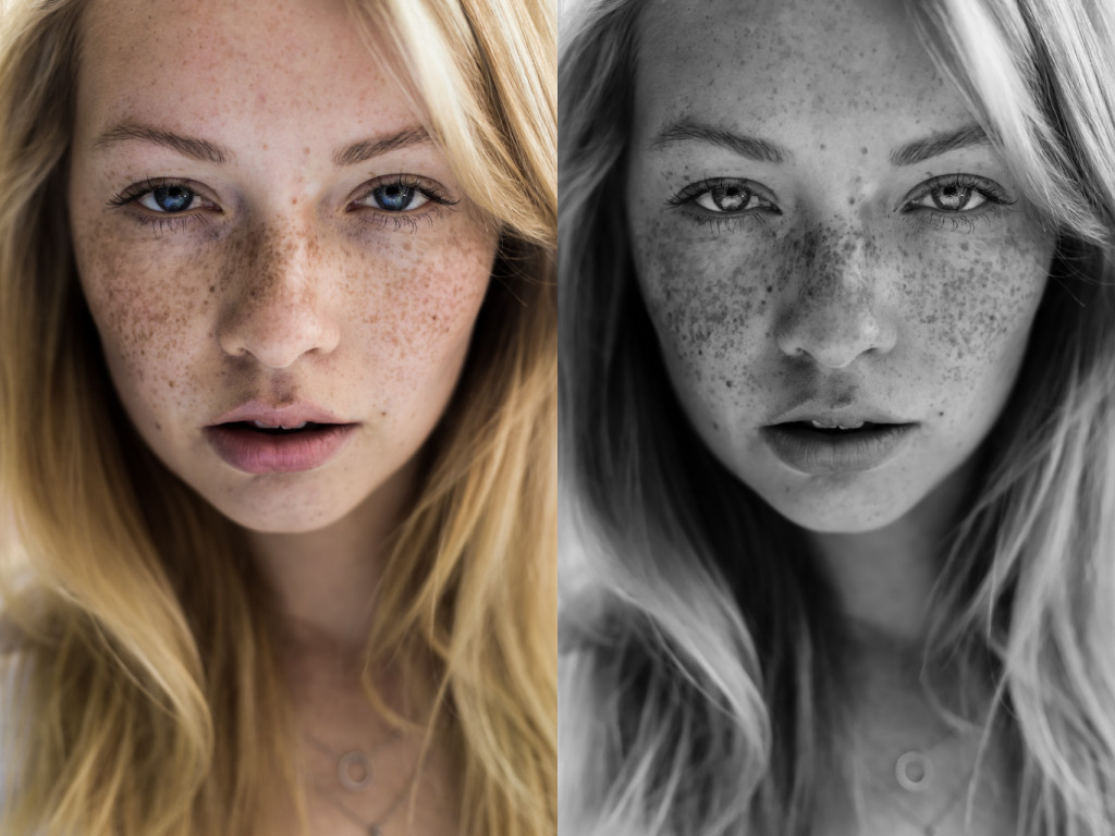 Model & makeup artist Emma. The color image emphasizes Emma's blue eyes. In comparison, the textures of Emma's hair, skin and eyelashes are much more apparent in the black and white version.