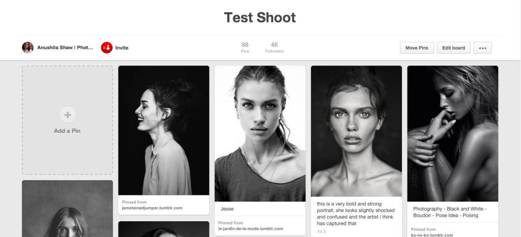 My Test Shoot mood board on Pinterest. This is a great resource for styling ideas, poses, lighting patterns and much more. Connect with me on Pinterest to see the rest!