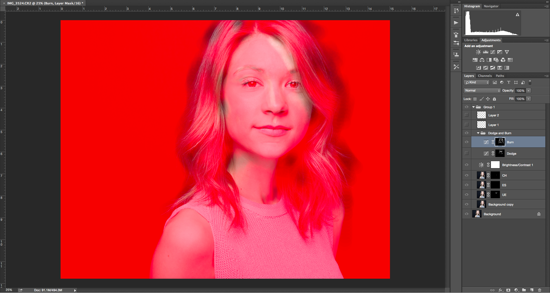 Finally, this is the color overlay that shows where I burned the image. In addition to the areas marked, above, I also burned around the edges of Kate's hair to make the light on her hair less of a distraction.
