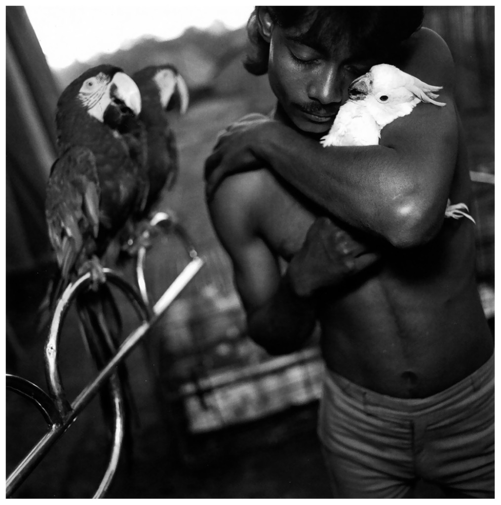 mary-ellen-mark-street-photography-boy-with-his-pet-cockatoo-great-golden-circus-ahmedabad-india-1989